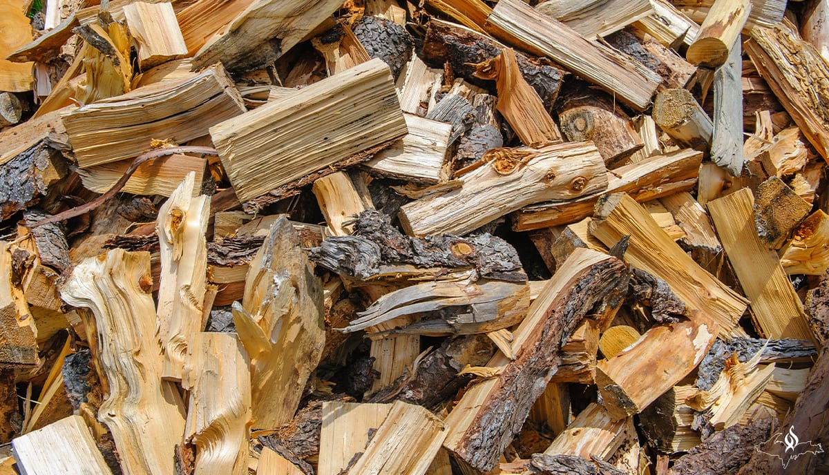 Winter stock pile of wood